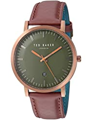 Ted Baker Mens DAVID Quartz Stainless Steel and Leather Casual Watch, Color:Red (Model: TE15193002)