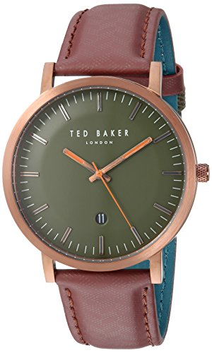 Ted Baker Men's 'DAVID' Quartz Stainless Steel and Leather Casual Watch, Color:Red (Model: - Baker Mens Ted Watches