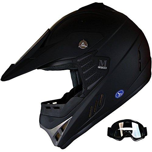 Kid ATV Motocross Dirt Bike Off-road Helmet Combo Matt Black+Goggles (Black Goggles,...