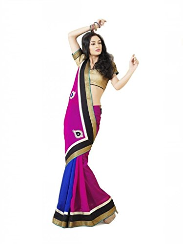 Jaanvi fashion Women's Crepe Elegant Saree Free Size Pink