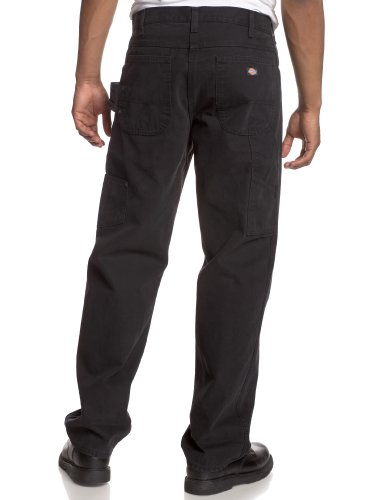 weatherford men Legendary dickies durability in relaxed jeans made of garment-washed 12-oz sanded cotton duck utility loop and dual tool pockets heavy-duty brass zippers rivets at stress points.