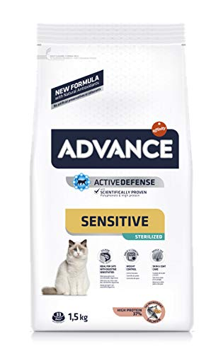 ADVANCE Sensitive Sterilized – Pienso para Gatos Esterilizados con Salmón – 1,5Kg