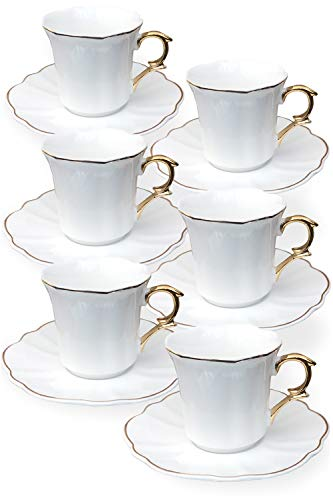 BTäT- Espresso Cups and Saucers, Set of 6 Demitasse Cups (2.4 oz), Small Coffee Cups, White Espresso Cup Set, Turkish Coffee Cups, Espresso Mugs, Espresso Set, Porcelain Cups