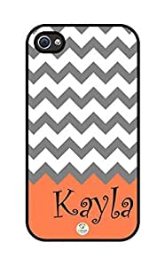 iZERCASE Personalized Grey Coral and White Chevron Pattern RUBBER iphone 4 case - Fits iphone 4, iphone 4S T-Mobile, AT&T, Sprint, Verizon and International (Black)