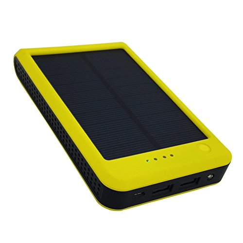 Solar Power Bank 15000mAh Portable Dual USB Solar Charger External Battery Pack with LED Flashlight Backup Phone Adapter Charger for Bluetooth, iPhone, HTC, Nexus, Camera, Tablet - Yellow