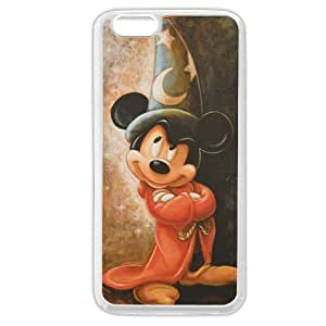 Customized White Soft Rubber(TPU) Disney Cartoon Mickey Mouse iPhone 6 Plus Case, Only fit iPhone 6+ 5.5""