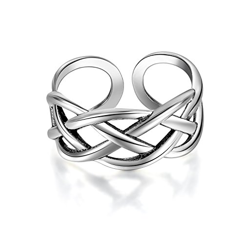 Candyfancy Love Celtic Knot Ring 925 Sterling Silver Toe Ring Open Adjustable for Women Girls Size 4-6 by Candyfancy (Image #1)