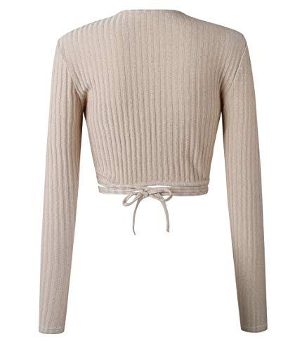 Jumper avec Sexy Hauts Shirts et Crop Manches Court Blouse V Col Tops Tee T Automn Chandail Bandage Femmes Printemps Mode Longues Pulls Abricot Legendaryman 1v7x8n