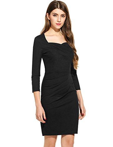Irregular Pencil Bodycon Dress Women ANGVNS Tunic Grenn 3 Business Sleeve 4 Neck FYYpqfwg