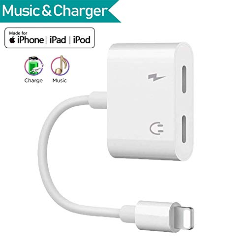 for iPhone Headphone Jack Adapter 2 in 1 Headphone Jack Dongle Adapter AUX Audio Splitter Call and sync Cable Accessory for iPhone Xs/MAX/XR/X / 8 / 8Plus / 7 / 7Plus Compatible with iOS 12 etc