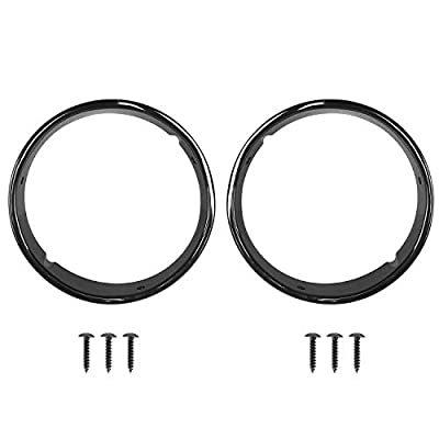 Hooke Road Jeep TJ Bright Black Headlight Bezels Cover Trim for 1997-2006 Jeep Wrangler TJ (Pair): Automotive