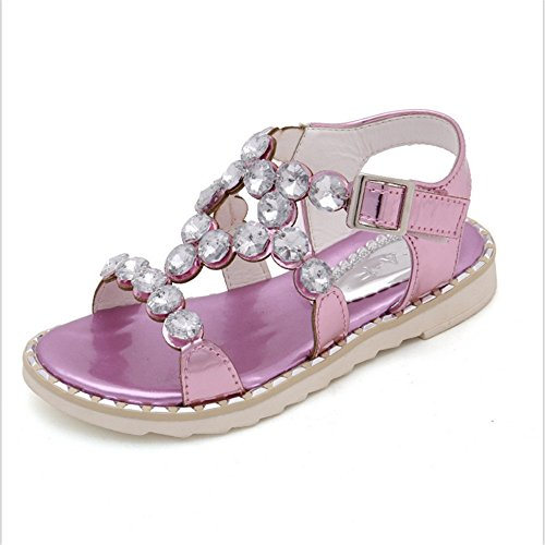 ZGSX sandalias del Rhinestone de 2017 sandalias de los zapatos de la princesa muchachas del verano de los niños antideslizante inferior suave ( Color : Rosado , tamaño : 34-20.6cm )