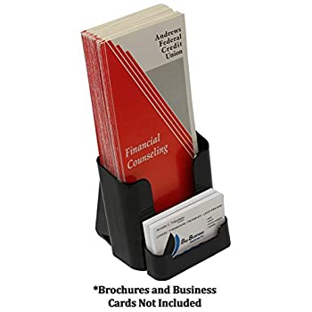 Image of Business Card Holders Displays2go Wall Mount or Countertop Leaflet Pocket, with Business Card Holder, Set of 60, Black (LDTKCARDBK)