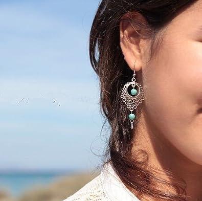 Las piedras preciosas retro Calaite hueco del estilo étnico cuelga el pendiente largo del descenso del agua del oído del perno prisionero de viaje Mengonee