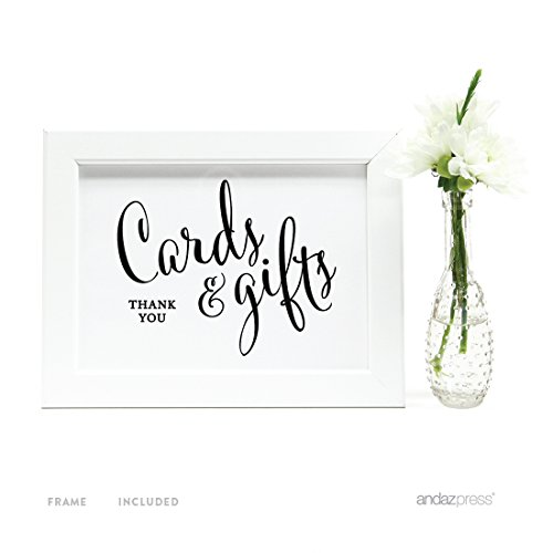 Andaz Press Wedding Framed Party Signs, Formal Black and White, 5x7-inch, Cards and Gifts Thank You, 1-Pack, Includes - Gift Card Frame