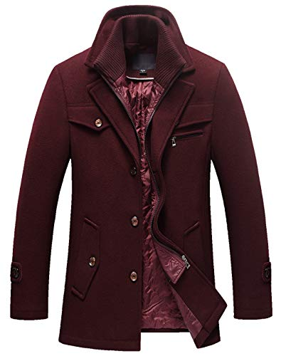 chouyatou Men's Gentle Layered Collar Single Breasted Quilted Lined Wool Blend Pea Coats (Medium, Dark Red) ()