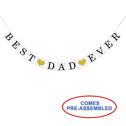 Partyprops Best Dad Ever Banner Garland Gold Glitter Heart - Happy Fathers' Day Decor Decoration Gift Idea for $<!--$10.99-->