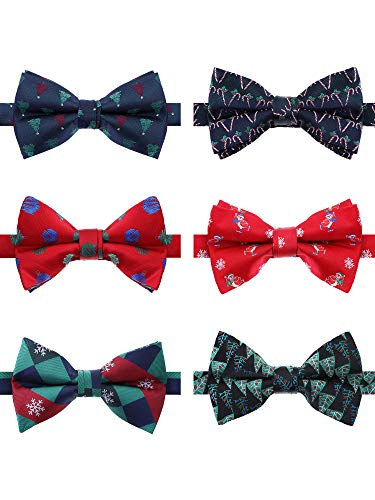 Tatuo 6 Pieces Christmas Bow Tie Party Self Bow Tie Pre-Tied Bowties for Men Women Party Favor