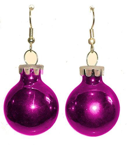 Fuchsia Purple Holiday Glass Ornament Ball Dangling ()