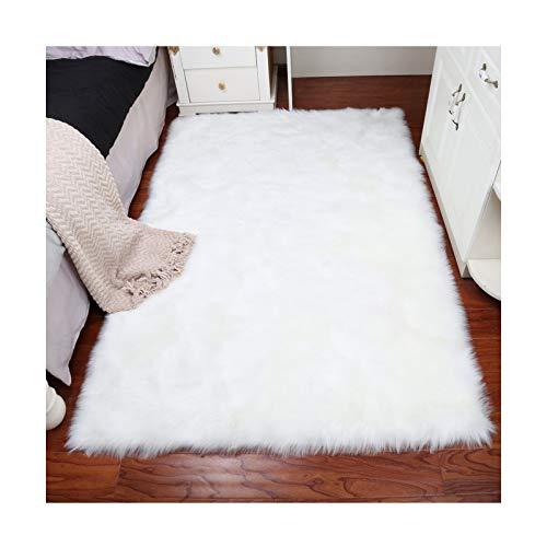 Elhouse Home Decor Soft Mat Rectangle Rugs Faux Fur Sheepskin Area Rug Baby Nursery Bedroom Shaggy Carpet Fluffy Rug, 3ft x 5ft White by Elhouse