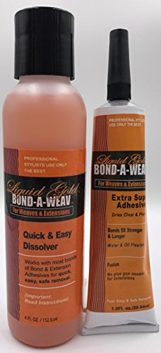Liquid Gold Bond-A-Weave Extension and Lace Front Kits (2pc Extension Kit (1oz (Liquid Hairpiece)