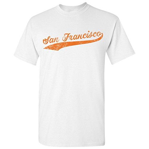 Giant Script Tee - San Francisco City Script - Baseball, League, Home Run, Majors, Hometown Pride T-Shirt - X-Large - White