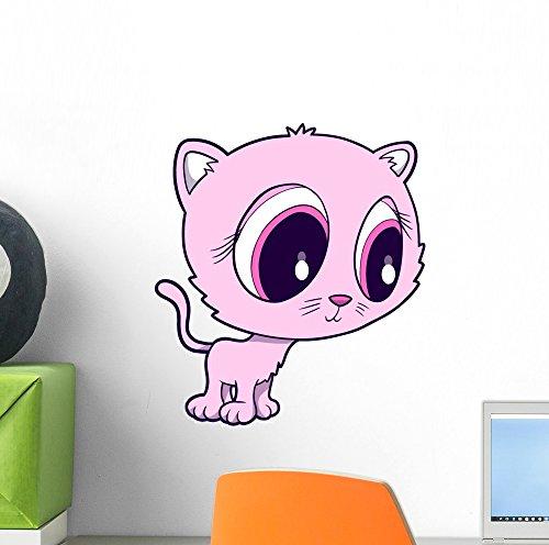Wallmonkeys WM274466 Cute Big Eyed Pink Kitty Cat Peel an...