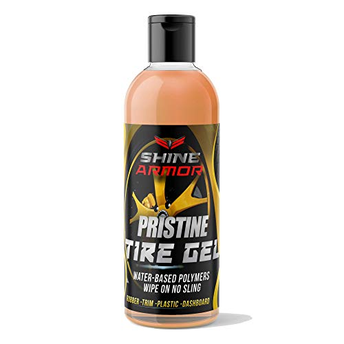 SHINE ARMOR Tire Shine Gel Dressing & Pristine Cleaner. Car Care for Wheels & Tires with No Sling Formula, Wet Look, Keeps Tires Black & Clean with Water Based Polymers.