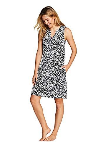 - Lands' End Women's Cotton Jersey Sleeveless Swim Cover-up Dress Print