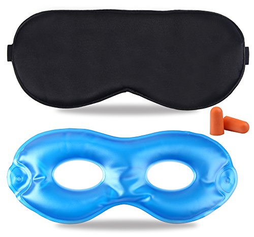 Fitglam Pure Silk Sleep Mask + Reusable Cold / Hot Therapy SPA Gel Eye Mask Set - Improve Sleeping, Alleviate...