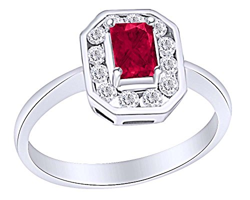 Emerald Cut Simulated Ruby with Diamonds Antique Engagement Ring in 10K White White Sold Gold (1 Cttw)