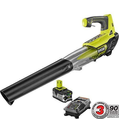 Ryobi Leaf Blower - ONE+ 100 MPH 280 CFM Variable-Speed 18-Volt Lithium-Ion Cordless Jet Fan Leaf Blower - 4Ah Battery and Charger Included