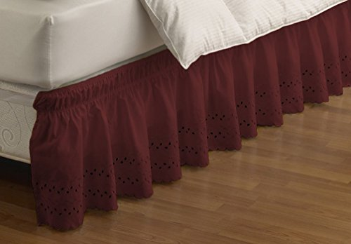 EasyFit 11578BEDDTFUBUG Wrap Around Eyelet Ruffled Twin/Full Bed Skirt 75-Inch by 39-Inch with 15-Inch drop, Burgundy - Homestyles Twin Bed