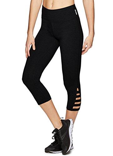 RBX Active Women's Workout Cotton Workout Leggings X-Strap Black Jewel L