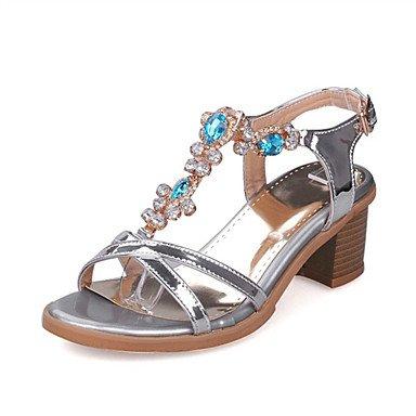 LvYuan Mujer-Tacón Robusto-Confort Innovador-Sandalias-Boda Oficina y Trabajo Vestido Informal Fiesta y Noche-Purpurina Materiales Silver