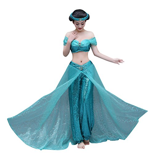 Modern Day Princess Costumes (Princess Costume for Adult Women, Halloween Cosplay Outfit Fancy Ball Accessory Green (L))