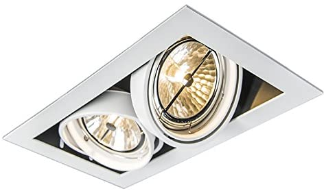 QAZQA Diseño Foco empotrado blanco orientable 2 luces ONEON 111 2 Acero Rectangular Adecuado para LED Max. 2 x 50 Watt