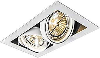 2 x 50 Watt QAZQA Modern White Downlight rotatable and tiltable AR111 Trimless 2-Way//Indoor Lighting//Lights//Lamps//Living Room//Kitchen Oneon 111-2 Steel Rectangle G53 Max