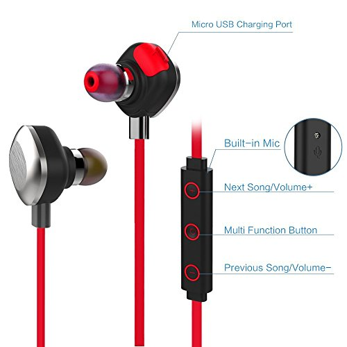 MORUL U5PLUS Bluetooth Headphones V4.1 Wireless Sports Headphones in-Ear Stereo Noise Cancelling Waterproof Running Headset Built-in Mic/APT-X for iPhone Samsung Galaxy and Android Phones-Red