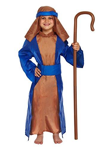 GUBA® Kids Boys Blue Shepherd Christmas Nativity Fancy Dress Costume Outfit 4-12 (Boys Blue Shepherd Outfits, Large (10-12 Years))