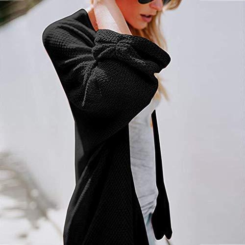 Donne Cardigan Autunno Lunga Loose Cappotti Inverno Nero Solidi Maglioni Manica Nuova Quotidiane Maglia Deelin Fit Svendita SfOvSd