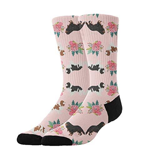 OKAYDECOR Women's Crazy Funny Crew Socks,Novelty King Charles Spaniel Florals -