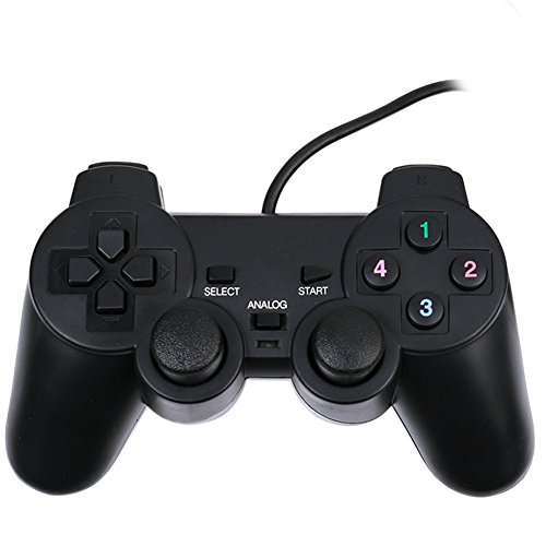 Vmargera USB Double Shock Controller GamePad for PC Computer Laptop - Black ()