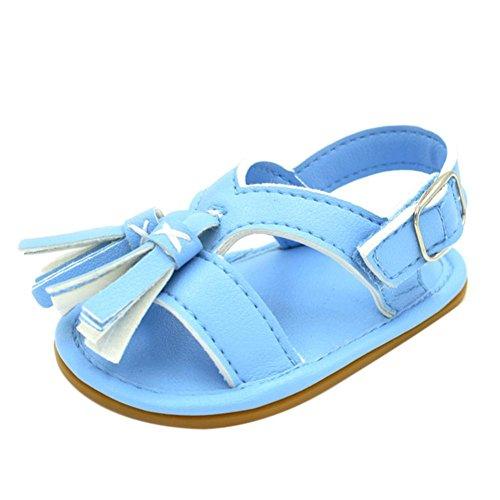 Igemy 1Paar Neugeborene Baby Jungen Mädchen Tassel Step Schuhe Sandalen Soft Schuhe Anti-Rutsch Schuhe Blau