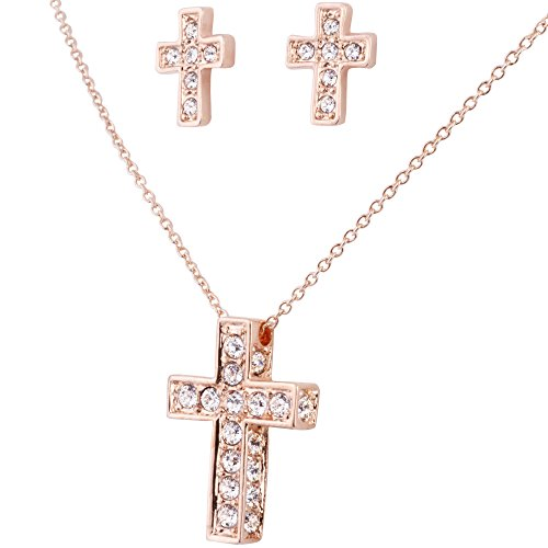 Good Costume Ideas For Teenage Girls (SmitCo LLC Cross Necklace For Girls, Rose Gold Plated Pendant and Stud Earrings Jewelry Set For Kids)