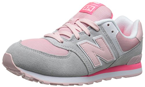 New Balance KL574G Core Plus Running Shoe (Big Kid), Grey/Pink, 6.5 M US Big Kid