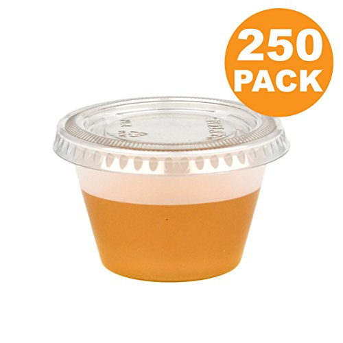 Plastic Souffle Portion Cup - 4 OZ Plastic Portion Cup with Clear Lids Disposable Jello Shots Sauce Condiment Souffle Dressing Mini Containers [250 Pack]