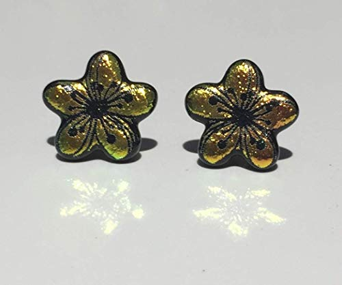 Pink Yellow Plumeria Flower Laser Engraved Etched Dichroic Fused Glass Stud Earrings with Solid Sterling Silver Posts