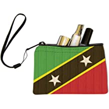 Rikki Knight Saint Kitts And Nevis Flag on Distressed Wood Design Keys Coins Cards Cosmetic Mini Clutch Wristlet