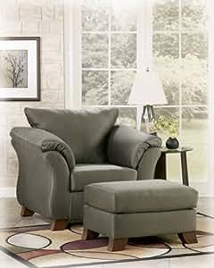 Contemporary Sage Living Room Ottoman